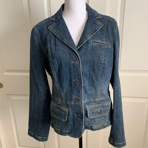 LOFT Jean Jacket Denim Blazer Stretch Button 14